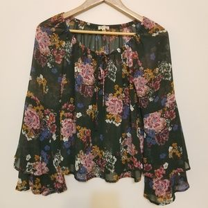 Lily White Green Floral Bell Sleeve Blouse, Sz S